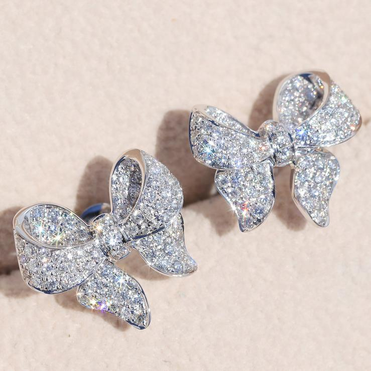Image of Fashion Personality Shiny Bow Female Earrings Wedding Engagement Love Earring Jewelry