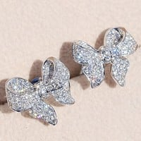 Fashion Personality Shiny Bow Female Earrings Wedding Engagement Love Earring Jewelry