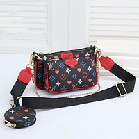Louis Vuitton LV hot sale three-piece printed mahjong bag casual one-shoulder messenger bag