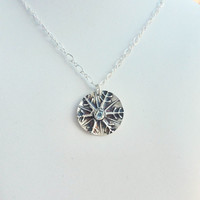 OOAK Fine Silver Pendant - Large Snowflake with Genuine Swiss Blue Topaz - Unique, Individuality, Beauty and Transformation  - Ready To Shi