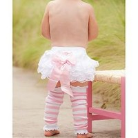 RuffleButts Baby Bloomers Lace with Pink Bow