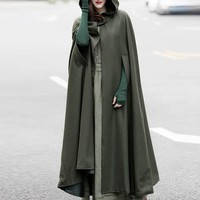 2018 ZANZEA Spring Cloak Hooded Coat Women Vintage Gothic Cape Poncho Medieval Victorian Long Open Stitch Thin Jackets Plus Size