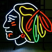 """Business NEON SIGN board For NHL CHICAGO BLACKHAWKS HOCKEY  REAL GLASS Tube BEER BAR PUB Club Shop Light Signs 17*14"""""""