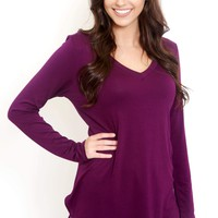 Long Sleeve Basic Purple Tee