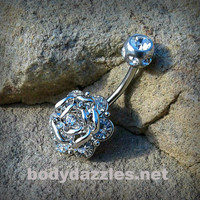 Silver Flower Burst Belly Button Ring Body Jewelry 14ga Surgical Stainless Steel Navel Ring