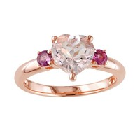 Pink Rhodium-Plated Sterling Silver Morganite & Tourmaline Heart 3-Stone Ring