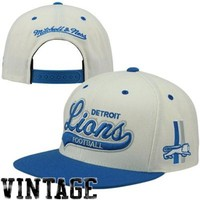 Mitchell & Ness Detroit Lions Throwback Script Tailsweeper Adjustable Hat - White/Light Blue