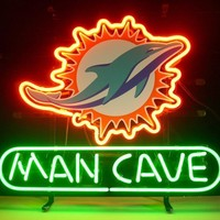 Miami Dolphin Man Cave NFL Sports Neon Sign Real Neon Light