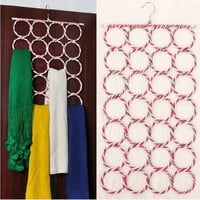 MULTI-USE 28-Hole SCARF HANGER TOWEL DISPLAY TIES BELT SHAWL CIRCLE STORAGE HOOK ORGANIZER (Color: Multicolor) = 1705617412