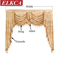 European Royal Luxury Valance Curtains for Living Room Window Curtains for Bedroom