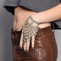 70s Chainmail SLAVE BRACELET / Silver Metal RING Gypsy Jewelry