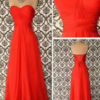 Hot Red Exquisite A-line Sweetheart Neckline Floor Length Prom Dress