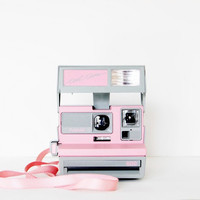 Pastel Pink Vintage Polaroid Camera Cool by ShadetreePhotography