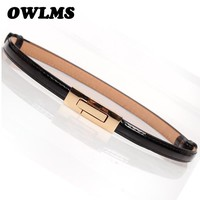 Fashion Newest Design Belts ladie's Luxury Gold buckle HOT thin belt Free Shipping Faux Leather strap waistband adjustable women