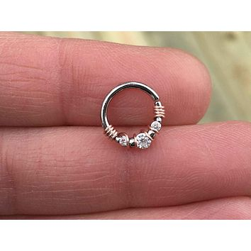 3 Crystal Septum Ring Silver Daith Piercing Rook Earring Hoop