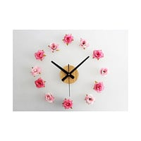 Beautiful Flower Romantic Rose DIY Wall Clock DIY Clock Countryside Simple Fashionable Creative Silent   Two-color flower