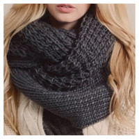 """Extra Large"" Thick Chunky Knit Charcoal Grey Infinity Scarf"