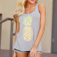 Gray Pineapple Dreamin Tank Top Shirt for Women