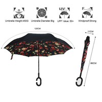Windproof Reverse Folding Double Layer Inverted Umbrella Self Stand Inside Out Rain Protection Hands For Car JJ-SYYS109-