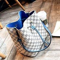 LV high-quality women's versatile fashion shoulder bag handbag white check + blue interior