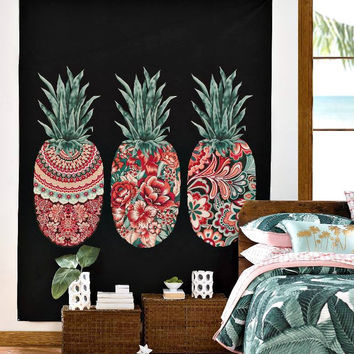 Boho Floral Pineapple Wall Bed Tapestry