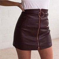 Zippers PU Leather Skirt [9643027087] F