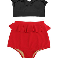 Black Midkini Mid-kini Top and Red Peplum Highwaisted High Waisted Waist High-Waist High-waisted Swimsuit Swimwear Bikini Bathing suit S M