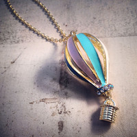 1 Pc HOT AIR Balloon Necklace Pendant Charm Antique Bronze Multi colored Vintage Style Pendant 210