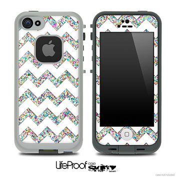White and Colorful Dotted V2 Chevron Pattern Skin for the iPhone 5 or 4/4s LifeProof Case