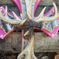 Pink/Camo Antler Cross