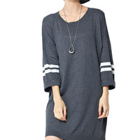 Grey Striped Sleeve Loose Knit Dress