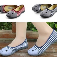 Striped Canvas Flat cat Shoes