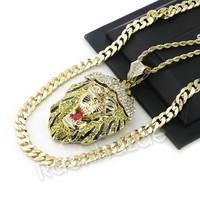 "BIG KING LION CHARM ROPE CHAIN DIAMOND CUT 30"" CUBAN CHAIN NECKLACE 54"
