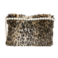 New Artificial Conny Wool Women Bag Handbag Ladies Shoulder Bag Women Messenge Bags Leopard Fur Shoulder Bag Clutch