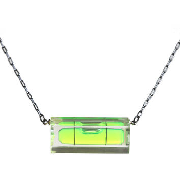 Short level necklace with black chain