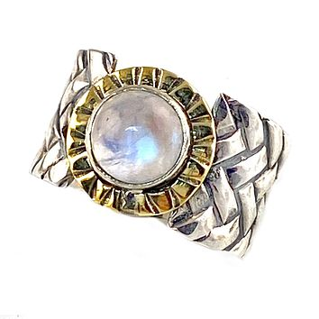 Moonstone Two Tone Sterling Silver Woven Band Ring