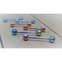 Titanium nipple piercing barbells 14g internally threaded pair hypoallergenic pick your length and color