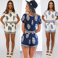 Leaves Of Printing Crop Top With Shorts Suits [6259171588]