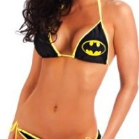 Batman Logo Triangle Set Black String Bikini (Ladies Medium)