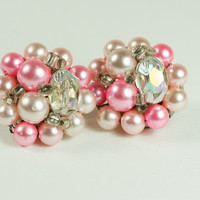 Vintage pink clipon cluster earrings by TwiceBakedVintage on Etsy