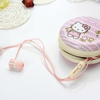 Lovely Earphone with Pouch/Case in Hello Kitty Style