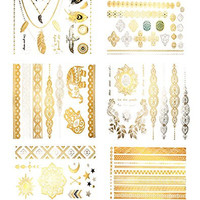 Premium Metallic Tattoos - 75+ Shimmer Designs in Gold, Silver, Black - Temporary Fake Jewelry Tattoos By Terra Tattoos™ (Serenity Collection)