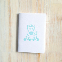 Small Notebook: Zebra, For Him, For Her, Cute, Baby, Aqua, White, Hand Carved, Kids, Jotter, Cute, Small Notebook, Stamped, Unique, WH15b