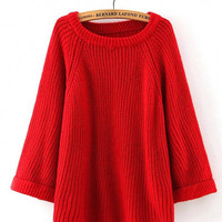 Red Ribbed Knitted Jumper