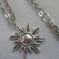 Sun necklace, silver sun necklace, celestial, sun pendant, silver sun, planet necklace sun jewelry, wiccan jewelry,pagan jewelry
