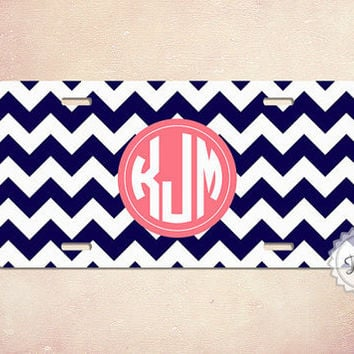Monogram License Plate navy blue chevron and coral - Personalized monogrammed car tag