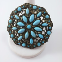 Vintage Brooch - Gold Washed Pot Metal Pin w/ Turquoise Colored Accents