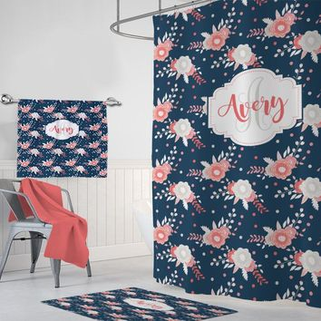 Floral Monogram SHOWER CURTAIN, Navy Pink Coral Flower Bathroom Decor, Personalized Girl Shared Sister Bathroom Towel Mat Set