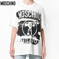 MOSCHINO Fashion Women Men Casual Print Round Collar T-Shirt Top