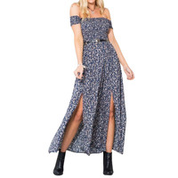 L07 Women Summer Long Maxi Dress Floral Front Split Dress Off Shoulder Beach Dress New